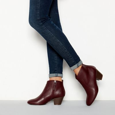 e415fd0c847 Mantaray Dark red faux leather  Montie  mid heel ankle boot