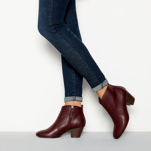 boot faux leather 'Montie' heel mid red Mantaray Dark ankle q8EEt