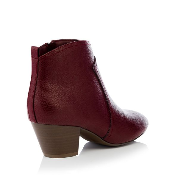 'Montie' heel faux boot Dark mid leather Mantaray red ankle qpCUxwxIR