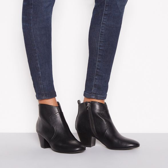 Black mid faux ankle leather heel 'Montie' boots Mantaray wCTISdxS