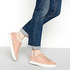Mantaray - Pink suedette 'Mear' borg lined lace-up trainers