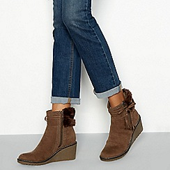 6d0ac850be0 Mantaray - Taupe suedette  May  faux fur trimmed wedged ankle boot