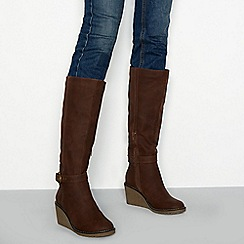 Mantaray - Brown faux leather 'Mallow' high wedge heel knee high boots