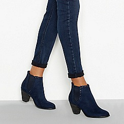 Nine by Savannah Miller - Blue faux suede mid block heel Chelsea boots