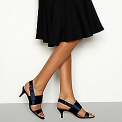 Debut - Navy satin 'Ding' kitten heeled sandal
