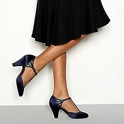 Debut - Navy satin 'Destiny' sparkle trim t-bar heeled shoes