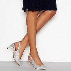 Debut - Silver 'Dishy' stiletto heel slingbacks