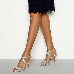 Debut - Silver gemstone 'Donte' high stiletto heel ankle strap shoes
