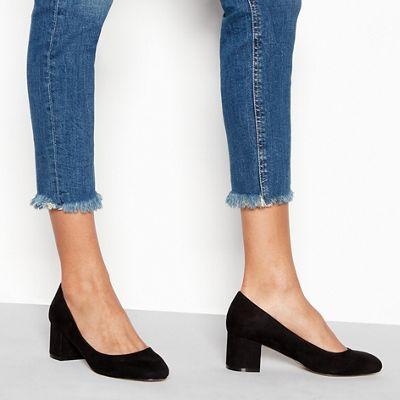 Wide FitFaith - Black suedette 'Wind' mid block heel wide fit court shoes