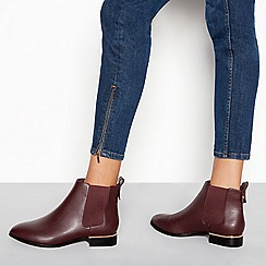 Faith - Wine red block heel metal trim Chelsea boots