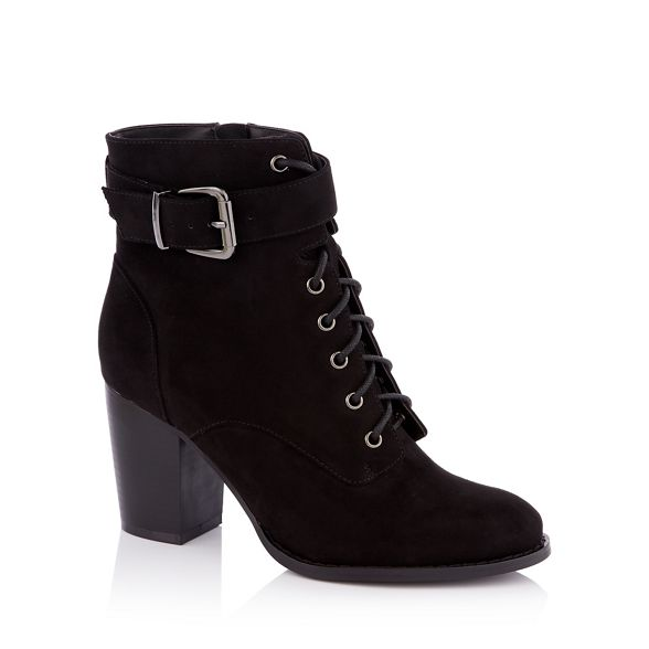 wide ankle Faith boots suedette heel lace Black up 'Willoughby' fit block xzRzqp0Pw