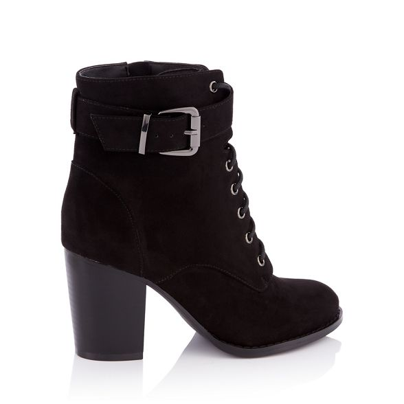 fit heel suedette Black Faith 'Willoughby' lace up boots block wide ankle A8AfUwpqx