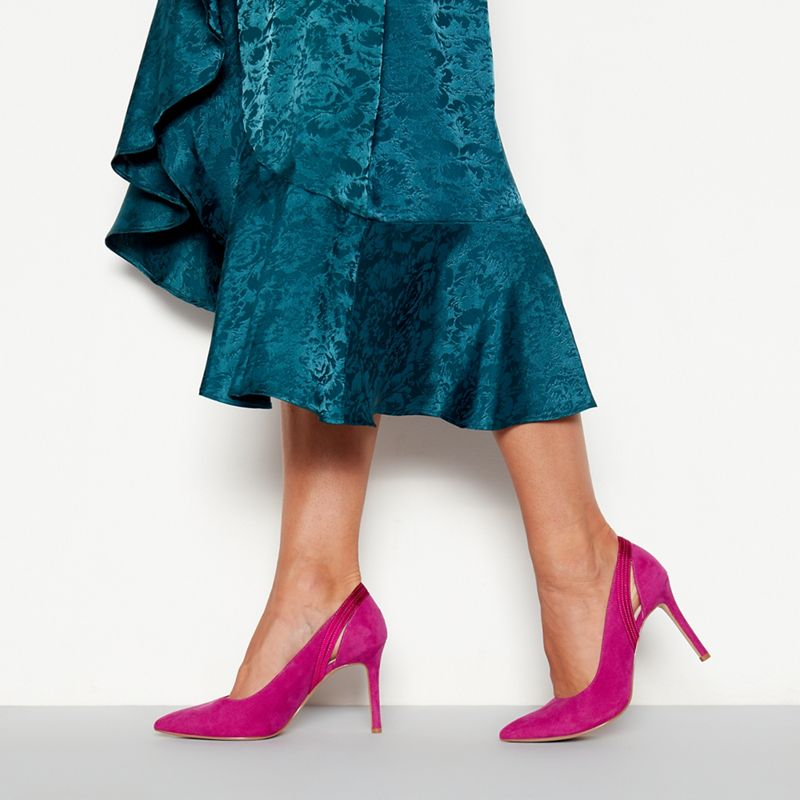 Faith - Bright Pink Suedette Woo Woo High Stiletto Heel Wide Fit Pointed Toe Shoes