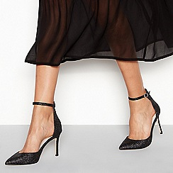 Faith - Black glitter 'Witter' high stiletto heel wide fit pointed shoes