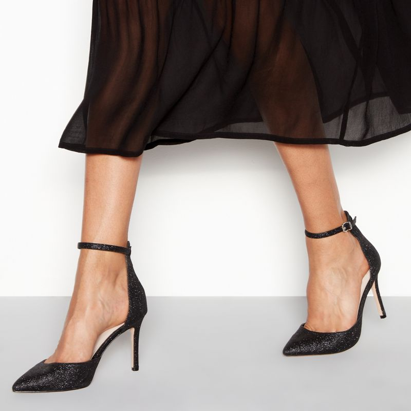 Faith - Black Glitter Witter High Stiletto Heel Wide Fit