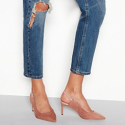 Faith - Nude suedette mid stiletto heel slingback court shoes