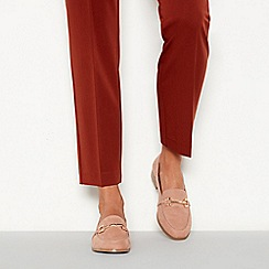 Faith - Natural suedette metallic bar 'Woodsen' wide fit loafers