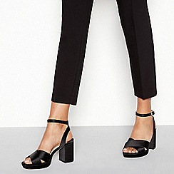 Faith - Black satin 'Worothy' high platform heel sandals