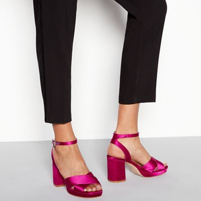 Wide FitFaith - Pink satin 'Worothy' high platform heel sandals