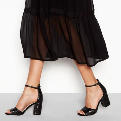 Wide FitFaith - Black glitter 'Waldorf' high block heel wide fit ankle strap sandals