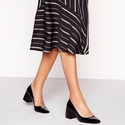 Faith - Black patent 'Candice' mid block heel heel heel court shoes 0fa6e5