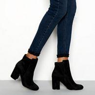 826a81e53209 Faith - Black suedette  Winter  block heel wide fit ankle boots