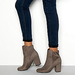 Faith - Grey suedette 'Winter' block heel wide fit ankle boots