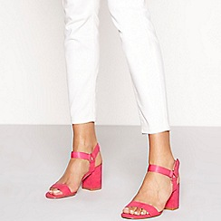Faith - Pink suedette 'Derena' high block heel ankle strap sandals