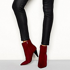 Faith - Red suedette 'Branning' cone block heel boots