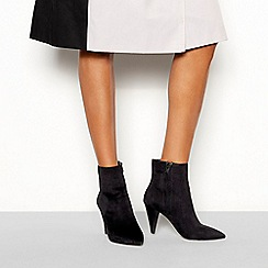 Faith - Black suedette 'Branning' cone block heel boots
