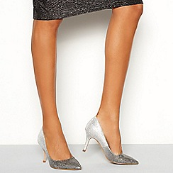 Faith - Silver glitter 'Chariot Ombre' stiletto heel court shoe
