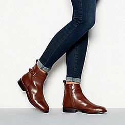 Faith - Brown leather buckle detail 'Broganer' flat ankle boots