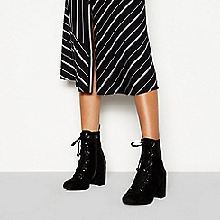 Faith - Black suedette 'Butcher' block heel lace ankle boot