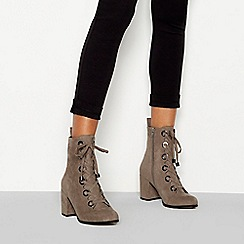 Faith - Grey suedette 'Butcher' block heel lace ankle boot