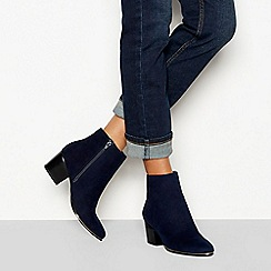 Faith - Navy suedette 'Barleena' block heel ankle boots