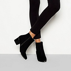 Faith - Black suedette 'Barleena' block heel ankle boots
