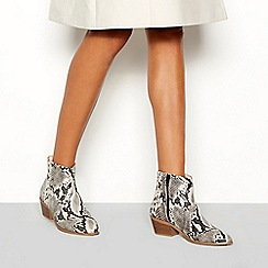 Faith - Multi-coloured snakeskin-effect 'Bull' block heel ankle boots