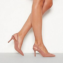 Faith - Natural suedette 'Charing' mid stiletto heel pointed toe shoes