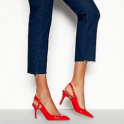 Faith - Red Patent 'Charing' Mid Stiletto Heel Pointed Toe Slingbacks