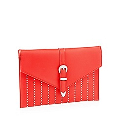 Faith - Red studded 'Penelope' envelope clutch bag