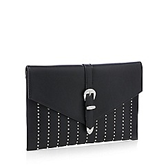 Faith - Black studded 'Penelope' envelope clutch bag