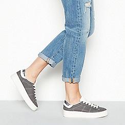 Faith - Grey 'Kimye' glitter heel lace-up trainers