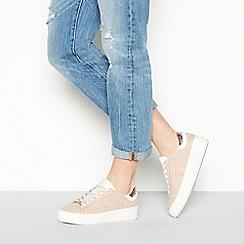 Faith - Pink 'Kimye' glitter heel lace-up trainers