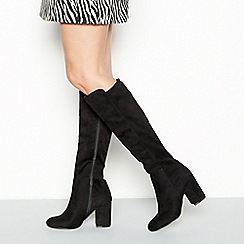1a17a353a7b Wide Fit. BA00001. Faith - Black faux-suede knee high boots