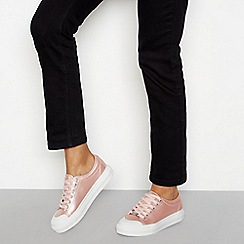 Faith - Pink metallic lace-up flatform trainers