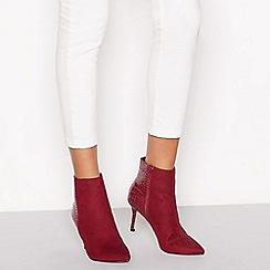 Faith - Wine red croc effect 'Bariot' high stiletto heel ankle boots