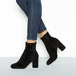 Faith - Black suedette 'Belinda' mid block heel ankle boots