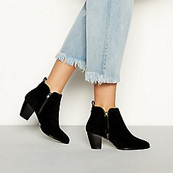 Faith - Black suedette 'Wippy' high block heel ankle boots