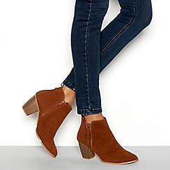 Faith - Tan suedette 'Wippy' high block heel ankle boots