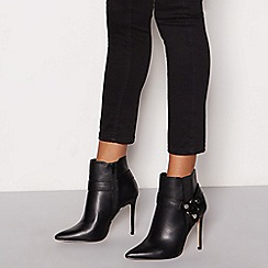 Faith - Black faux leather 'Wizzy' high stiletto heel pointed wide fit ankle boots